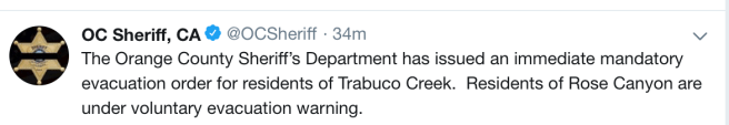 Orange County Sheriff Mandatory r residents evacuation of Trabuco Creek.