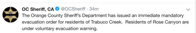 Orange County Sheriff Mandatory r residents evacuation of Trabuco Creek.