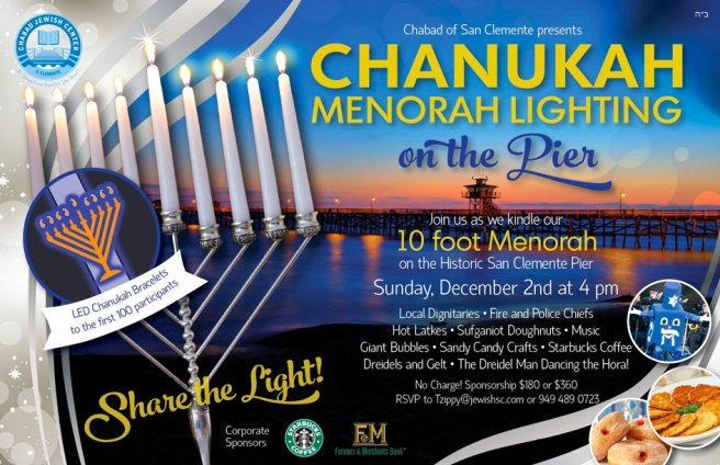 Chanukah Menorah Lighting at San Clemente Pier Sunday December 2 2018