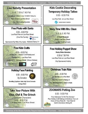 San Juan Capistrano Tree Lighting December 1 2018 Schedule