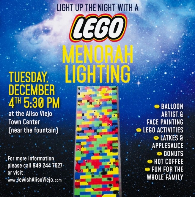 Lego Menorah Lighting Aliso Viejo December 4 2018