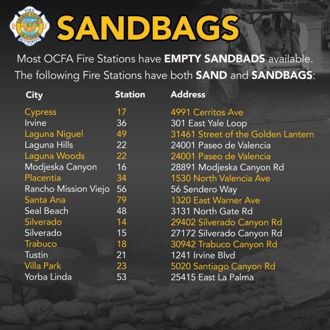 Orange County Fire Authority (OCFA) Sandbag Pickup Locations