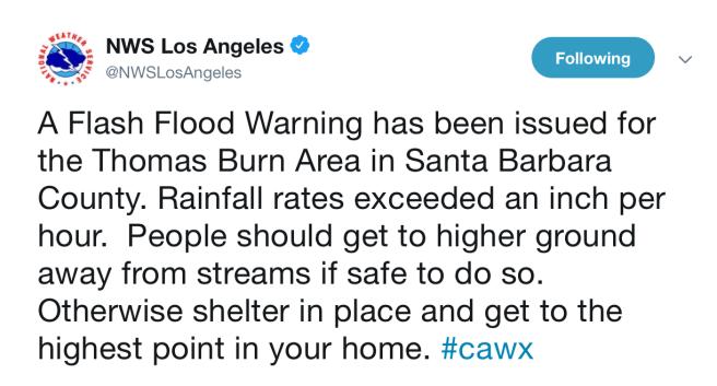 NWS Flash Flood Warning Thomas Burn Area January 17 2019