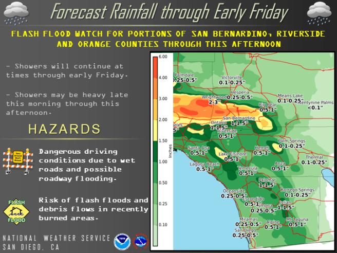Southern California Rainfall Thursday January 17 2019