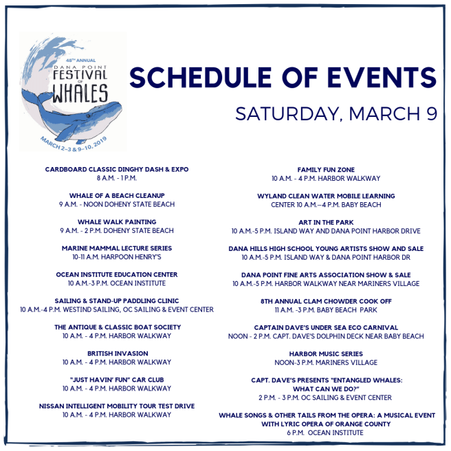 Dana Point Festival of Whales Saturday March 9 2019 Schedule