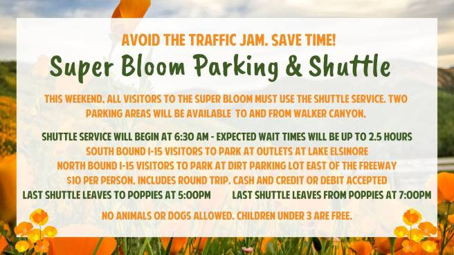 Lake Elsinore Super Bloom March 30 and March 31 2019 Shuttle and Parking Info