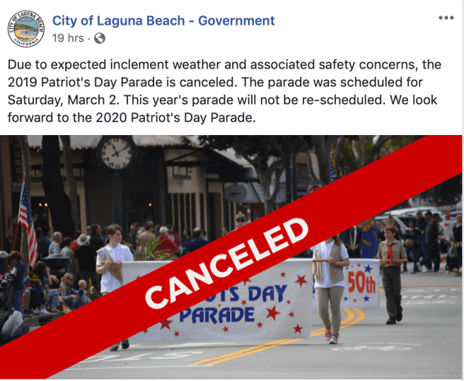 Laguna Beach Cancels Patriot's Day Parade March 2 2019