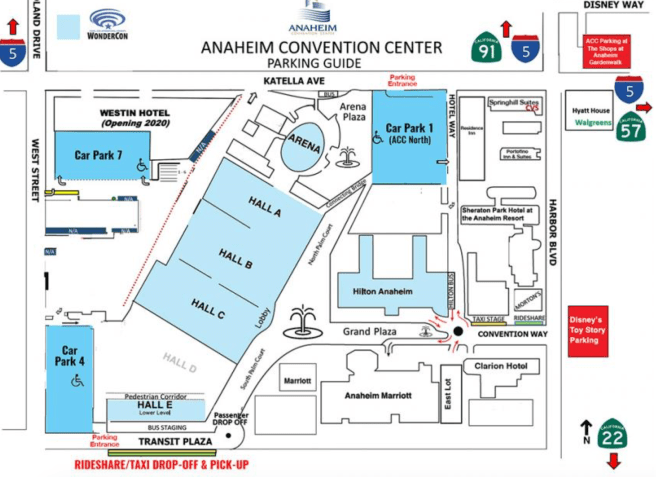 Wondercon 2019 Parking Map