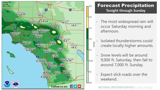 Southern California Rain Day Friday March 1 2019 – South OC