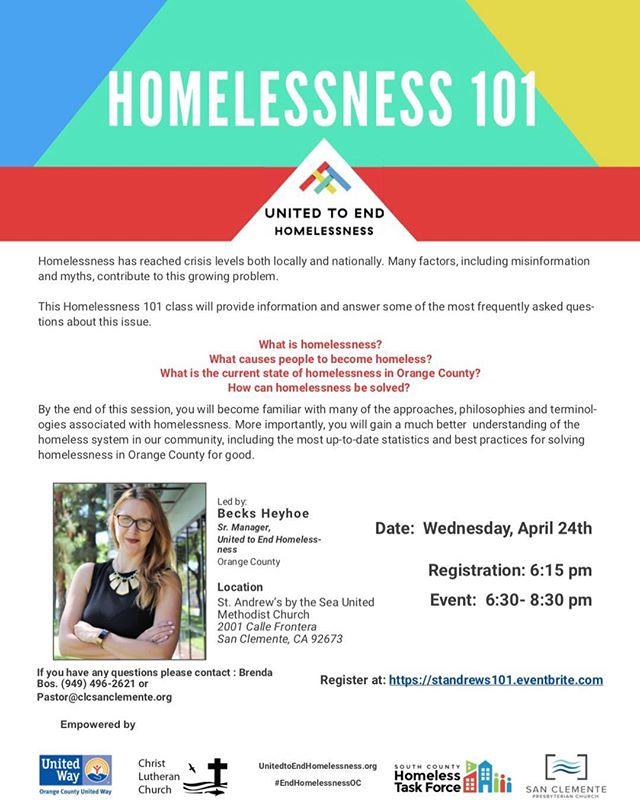 San Clemente Homelessness 101 Workshop April 24 2019
