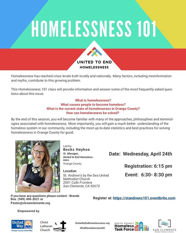 San Clemente Homelessness 101 Workshop April 24 2019