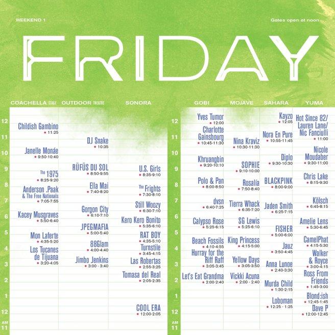 Coachella 2019 Friday April 12 2019 Set Times