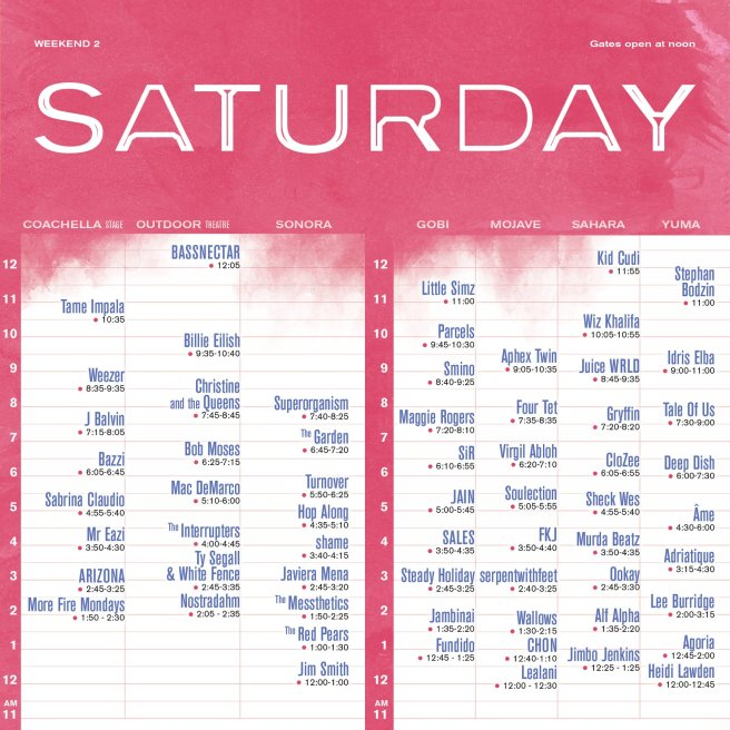 Coachella 2019 Weekend Two Friday April 19 2019 Set Times