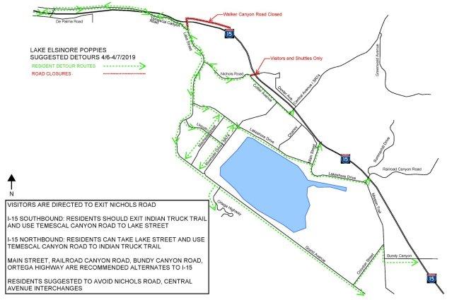 Lake Elsinore Super Bloom Suggest Detours Map April 6 2019 and April 7 2019