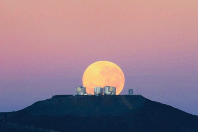 Pink Moon (looks orange) Courtesy of eso.org/public/usa/teles-instr/paranal-observatory/vlt