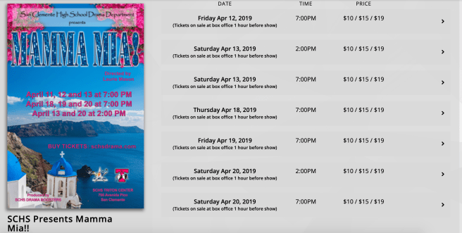 San Clemente High School Spring Musical Mamma Mia Performance Schedule April 2019