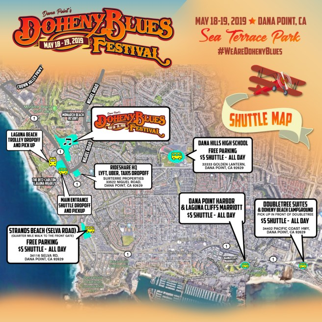Doheny Blues Festival 2019 Shuttle Map