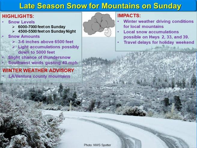 LA:Ventura County Mountain Snow Advisory May 26 2019
