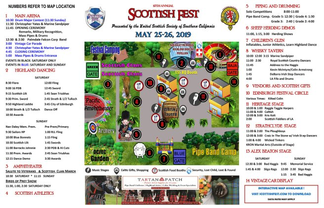 Scottish Fest May 25-26 2019 Orange County California Event Map