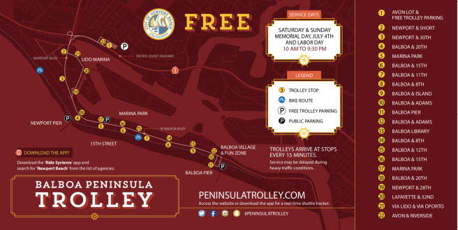 Newport Beach Trolley Map Summer 2019