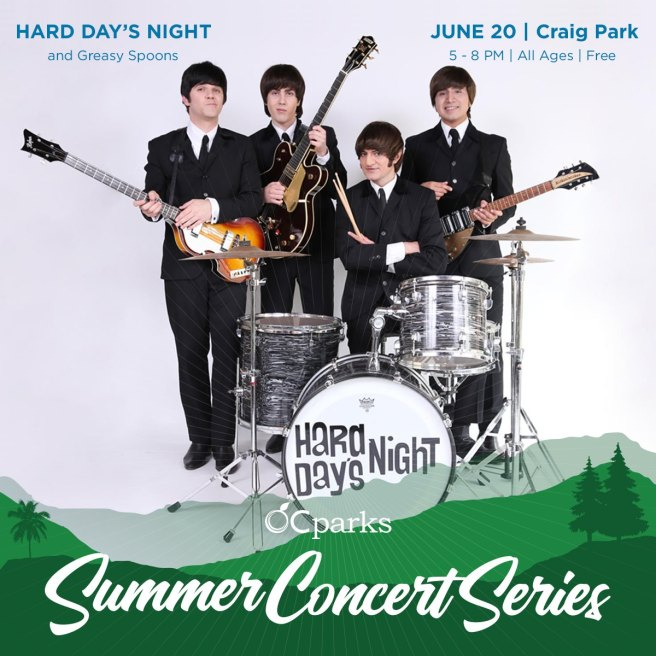 OC Parks Summer Concerts June 20 2019 with Hard Days Night Beatles Tribute Band