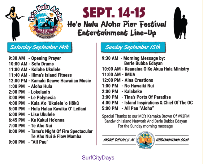 Huntington Beach Surf City Days and He'e Nalu Aloha Pier Festival Saturday September 14 2019 and Sunday September 15 2019 Entertainment Schedule