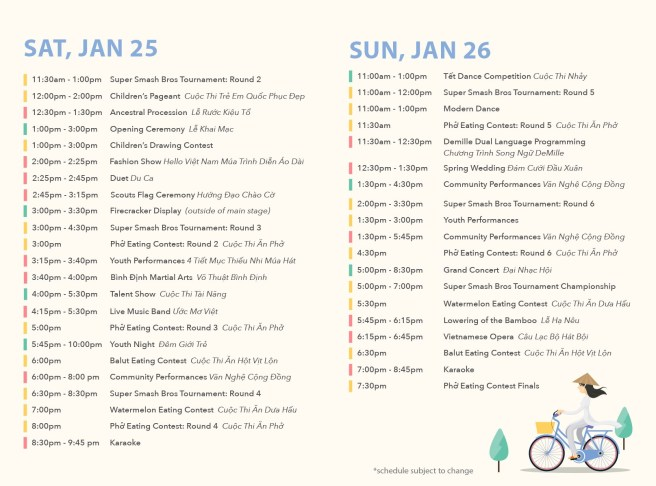 Orange County Fairgrounds Tet Festival Schedule January 25-January 26 2020