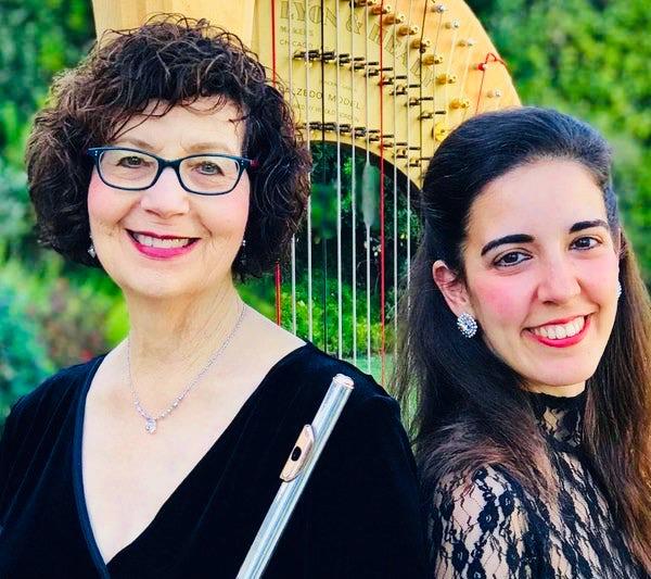 Harpist Cristina Montes Mateo and Flutist Susan Greenberg Courtesy of NewportBeachArts