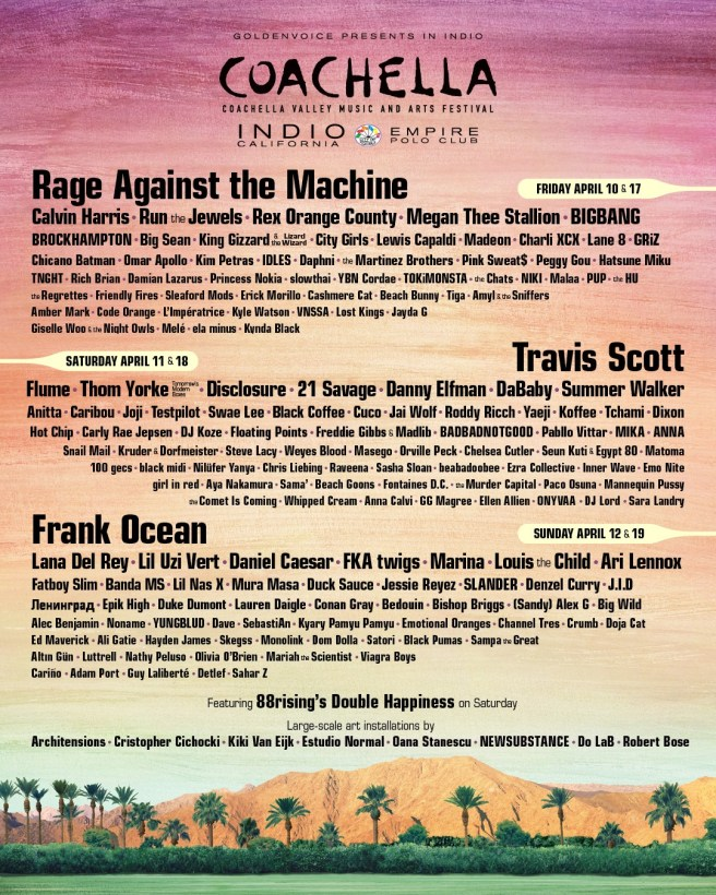 Coachella Lineup April 2020