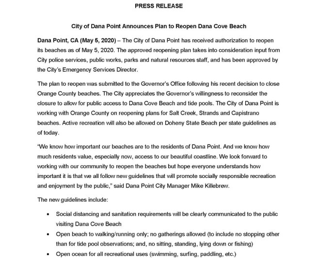Dana Point California Reopening Beaches May 5 2020 Press Release