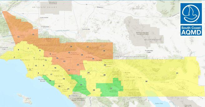 South Coast AQMD Air Quality Map For Sunday September 20 2020