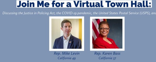 Representative Mike Levin Virtual Town Hall Wednesday September 2 2020