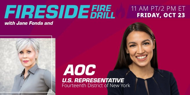 Greenpeace and Jane Fonda Fire Drill Friday with AOC on October 23 2020