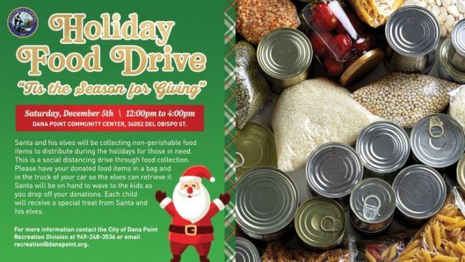 Dana Point Holiday Food Drive Saturday December 5 2020