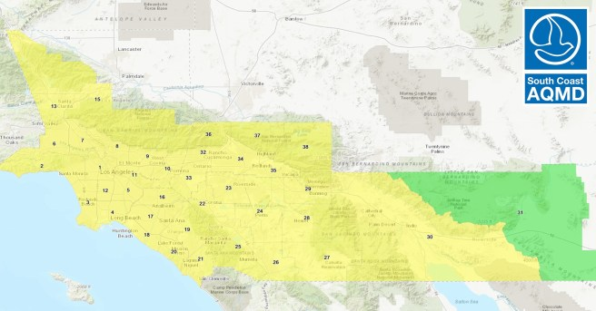 Southern California Air Quality Monday December 14 2020