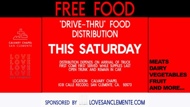 San Clemente Drive Thru Food Distribution Saturday January 23 2021