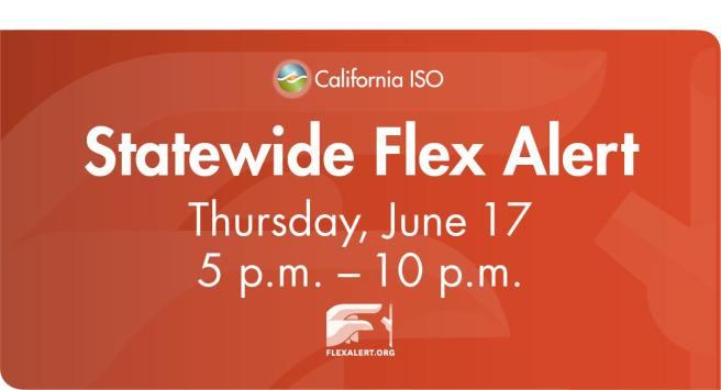 California Flex Alert Thursday June 17 2021