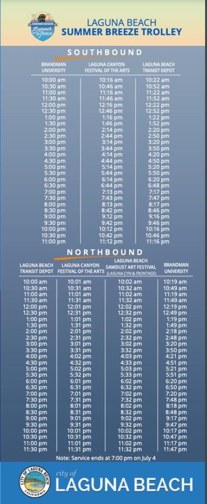 Laguna Beach Summer Breeze Trolley 2021 Schedule