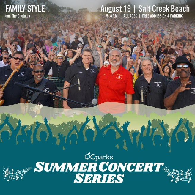 Dana Point Free Concert Thursday August 19 2021 at Salt Creek Beach featuring Family Style Courtesy of Orange County Parks