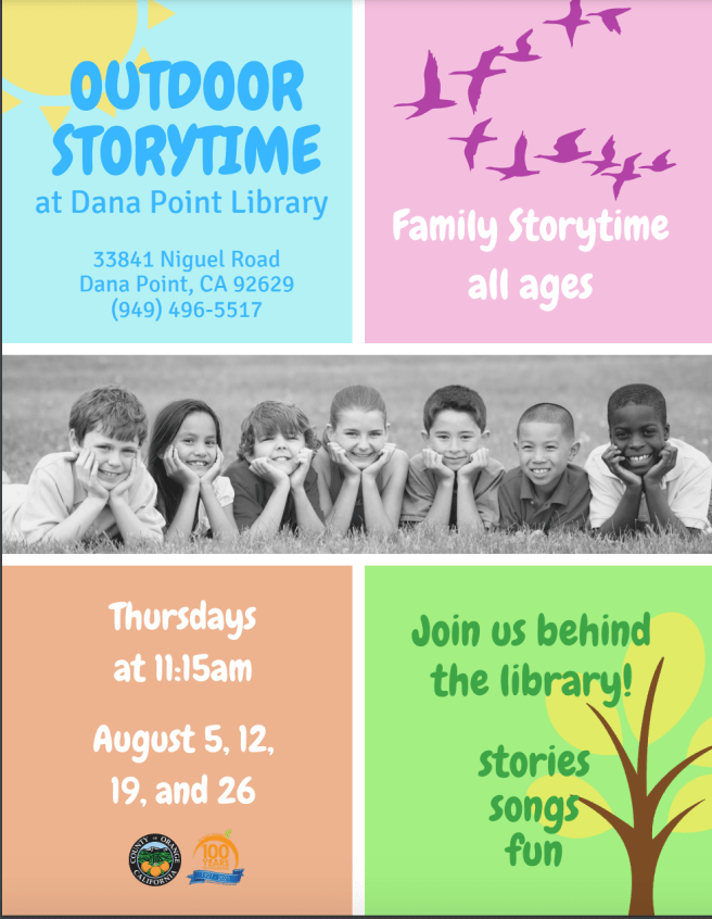 Dana Point Library Outdoor Story Time August 2021