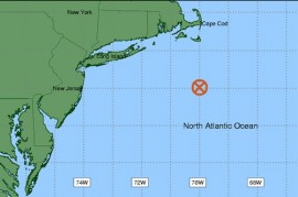 """The 40N/70W """"benchmark"""" forecasters use as a predictor for the track of major winter storms on Long Island."""
