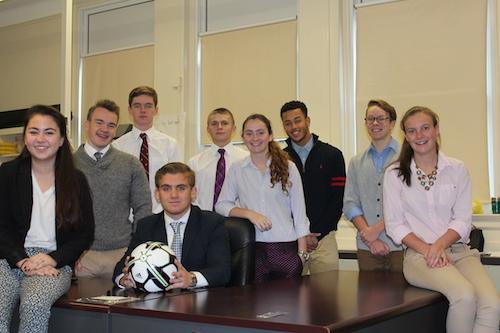 Nine students comprise Southold's Virtual Enterprise class. Courtesy photo.