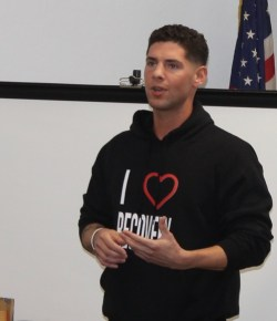 Jason Stierle shares his story of heroin addiction and being saved by Narcan several years ago. Photo: Denise Civiletti