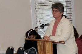 Denise Geiss of Mattituck expressed many concerns about the proposed Sports East facility. Photo: Denise Civiletti