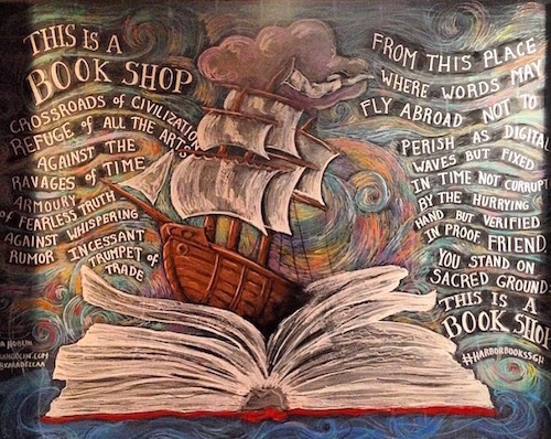 Hoblin's work is on display all across the East End. This piece hangs in Harbor Books in Sag Harbor. Courtesy photo.