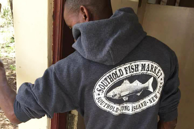 Southold fish market s famous apparel goes global for Southold fish market
