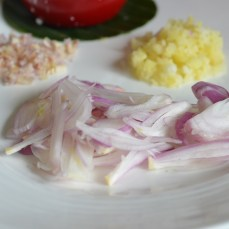 thin slice red onion or shallot