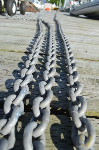 140 metres (250ft) of new galvanized anchor chain. A total weight of 400lbs (181Kg)