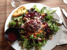 This is cranberry-chicken-fetacheese-almond salad on green with cranberry dressing