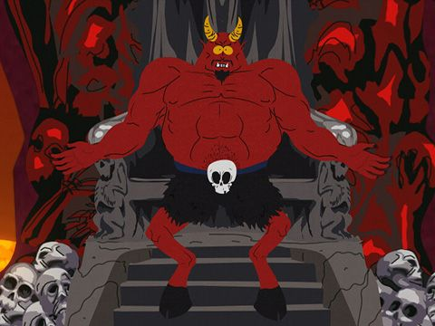 Satan from southpark sitting on his throne